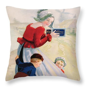 Advertisement For Chocolat Au Lait Throw Pillow by Anonymous