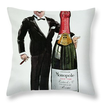 Advertisement For Heidsieck Champagne Throw Pillow by Sem
