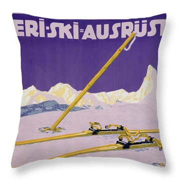 Advertisement For Skiing In Austria Throw Pillow by Carl Kunst