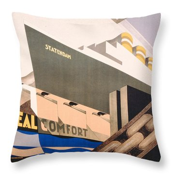 Advertisement For The Holland America Line Throw Pillow by Hoff