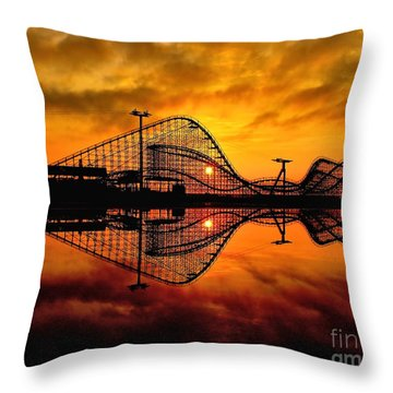 Adventure Pier At Sunrise Throw Pillow by Nick Zelinsky