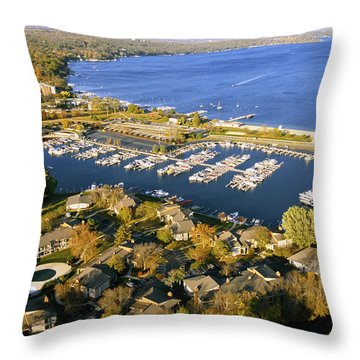 Aerial Of The Abbey Harbor - Fontana Wisconsin Throw Pillow