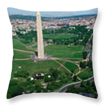 Aerial View Of A Monument, Tidal Basin Throw Pillow