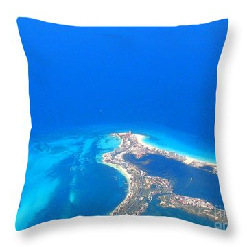 Aerial View Of Cancun Throw Pillow by Patti Whitten