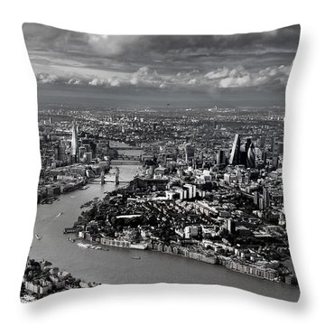 Aerial View Of London 4 Throw Pillow by Mark Rogan