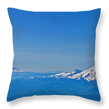 Aerial View Of Mount Rainier Volcano Art Prints Throw Pillow