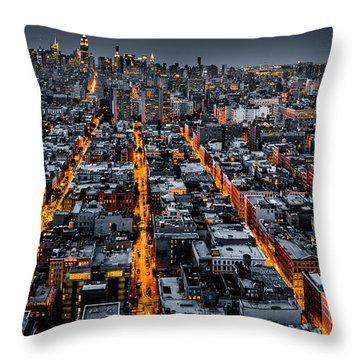 Aerial View Of New York City At Night Throw Pillow