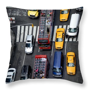 Aerial View Of New York City Traffic Throw Pillow by Amy Cicconi