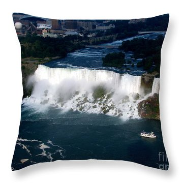 Aerial View Of Niagara Falls And River And Maid Of The Mist Throw Pillow