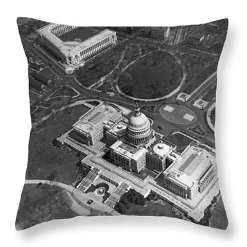 Aerial View Of U.s. Capitol Throw Pillow by Underwood Archives