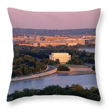 Aerial, Washington Dc, District Of Throw Pillow