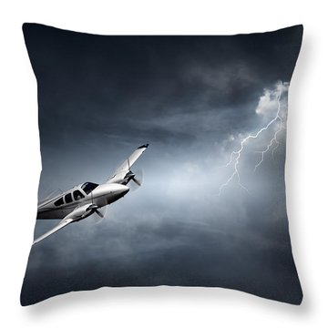 Risk - Aeroplane In Thunderstorm Throw Pillow