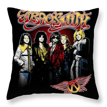Aerosmith - 1970s Bad Boys Throw Pillow by Epic Rights