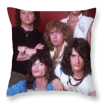 Aerosmith - Back In The Saddle 1984 Throw Pillow by Epic Rights