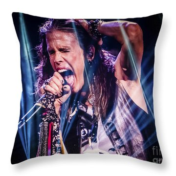 Aerosmith Steven Tyler Singing In Concert Throw Pillow by Jani Bryson