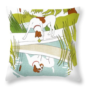 Aesop: Dog & Shadow Throw Pillow by Granger