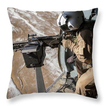 Afghan Air Force Gunner Fires An M-240 Throw Pillow