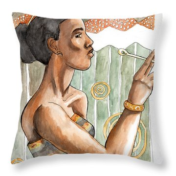 Africa Nouveau Throw Pillow by Whitney Morton
