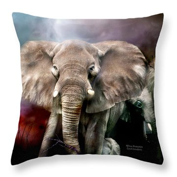 Africa - Protection Throw Pillow by Carol Cavalaris