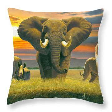 Africa Triptych Variant Throw Pillow by Chris Heitt