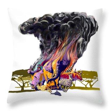 Africa Up In Smoke Throw Pillow by Sassan Filsoof