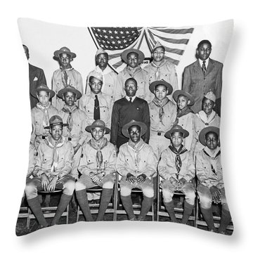 African American Boy Scouts Throw Pillow