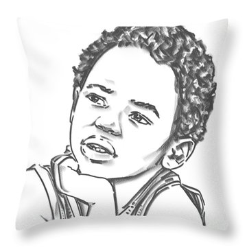 Throw Pillow featuring the drawing African Boy by Olimpia - Hinamatsuri Barbu