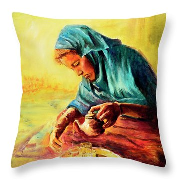 Throw Pillow featuring the painting African Chai Tea Lady. by Sher Nasser