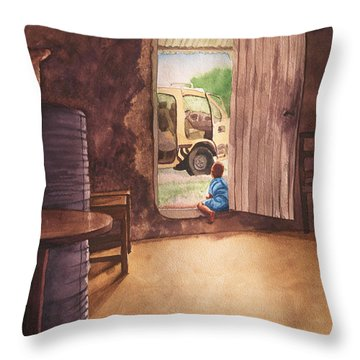 African Child's Dream Throw Pillow
