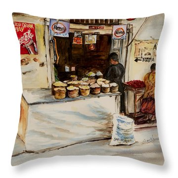 Throw Pillow featuring the painting African Corner Store by Sher Nasser