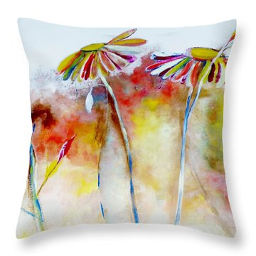 African Daisy Abstract Throw Pillow by Lisa Kaiser