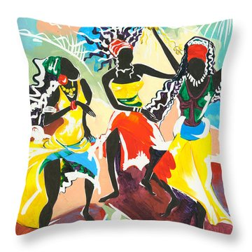 African Dancers No. 4 Throw Pillow by Elisabeta Hermann