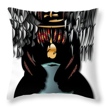 Throw Pillow featuring the digital art African Drummer 2 by Marvin Blaine