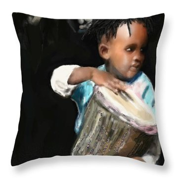 African Drummer Boy Throw Pillow by Vannetta Ferguson