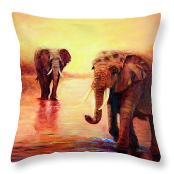 Throw Pillow featuring the painting African Elephants At Sunset In The Serengeti by Sher Nasser