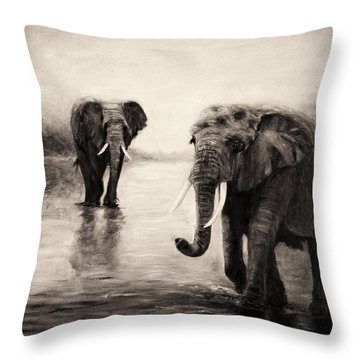 Throw Pillow featuring the painting African Elephants At Sunset by Sher Nasser