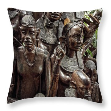 African Family Tree Of Life Throw Pillow by Daniel Hagerman