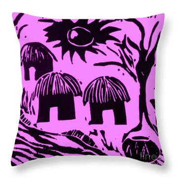 African Huts Pink Throw Pillow by Caroline Street