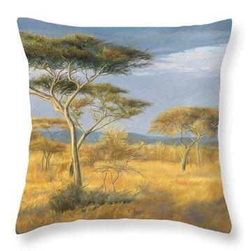 African Landscape Throw Pillow