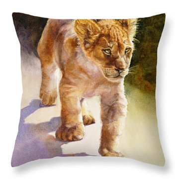 Throw Pillow featuring the painting African Lion Cub by Bonnie Rinier