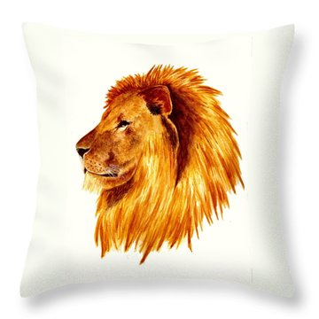 African Male Lion Throw Pillow by Michael Vigliotti