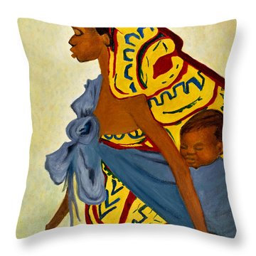 Throw Pillow featuring the painting African Mother And Child by Sher Nasser