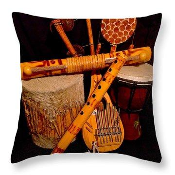 African Musical Instruments Throw Pillow