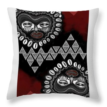 African Queen-of-hearts Card Throw Pillow by Carol Jacobs