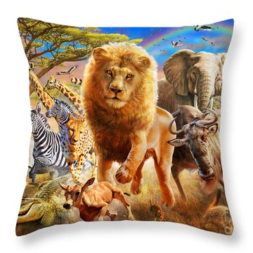 African Stampede Throw Pillow by Adrian Chesterman