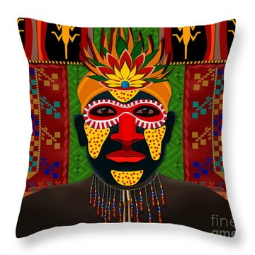 African Tribesman 1 Throw Pillow by Bedros Awak
