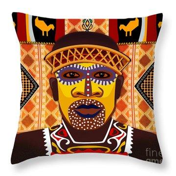 African Tribesman 2 Throw Pillow by Peter Awax