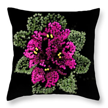 Throw Pillow featuring the digital art African Violets Bedazzled by R  Allen Swezey