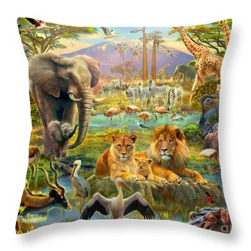 African Watering Hole Throw Pillow