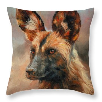 African Wild Dog Throw Pillow